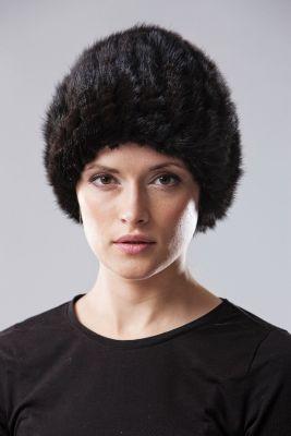 Megzta audinės uodegėlių kepurė Turbanas juoda