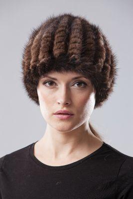 Megzta audinės uodegėlių kepurė Turbanas ruda