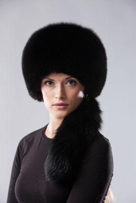 Lapės kailio apvali kepurė, juoda