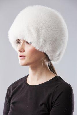 Lapės kailio apvali kepurė, balta