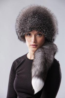 Lapės kailio kepurė su lapės uodega