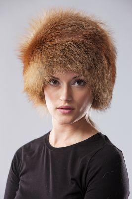 Lapės kailio apvali kepurė, natūrali gold