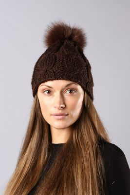 Megzta kepurė su pynėm ruda/ruda