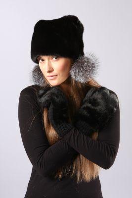 Audinės kailio kepurė Katinėlis su bumbuliukais, juoda