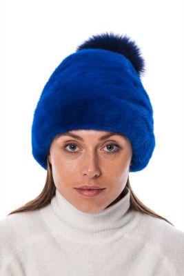 Audinės kailio kepurė su dideliu lapės kailio bumbulu, mėlyna