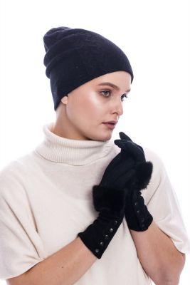 Vilnonė kepurė juodos spalvos