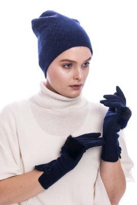 100 proc. vilnos pirštuotos pirštinės mėlynos su audinės kailiu