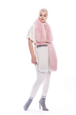 Lapės kailio šalikas, rožinės spalvos