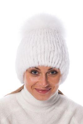 Megzta audinės kailio kepurė plačiu bumbulu balta kepurė (didesnis dydis)