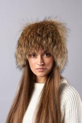 Megzta usūrinio šuns kailio kepurė Katinėlis, natūrali