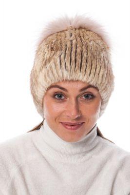 Megzta audinės kailio gelsva kepurė su plačiu bumbulu  (didesnis dydis)