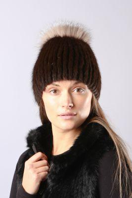 Megzta audinės kailio kepurė Sport, ruda/gelsvas frost