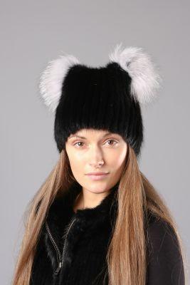 Megzta audinės kailio kepurė Katinėlis juoda/juodsidabrė