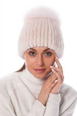 Megzta audinės kailio kepurė plačiu bumbulu, rožinė/rožinė