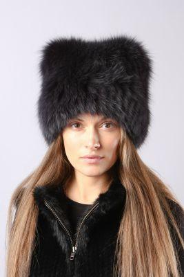 Megzta lapės kailio kepurė Katinėlis, juoda
