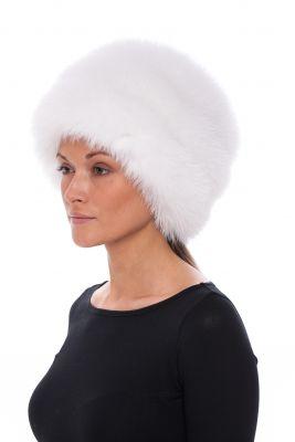 Lapės kailio kepurė Tabletė balta