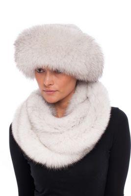 Kepurė Klasika, lapės kailio, natūrali balta