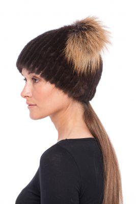 Megzta audinės kailio kepurė Katinėlis, ruda/gelsvas frost