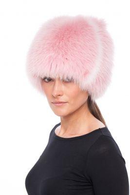 Megzta lapės kailio kepurė Katinėlis SAGA, rožinė