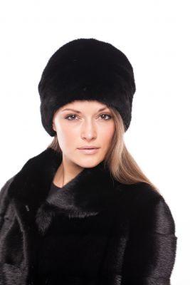Audinės kailio kepurė Cilindras, juoda