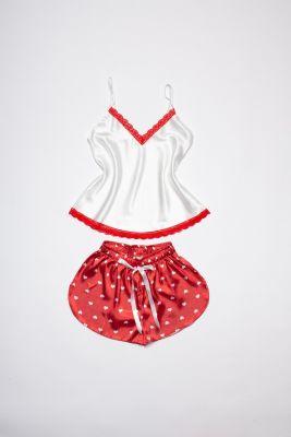 Pižama su širdelėmis (raudona)