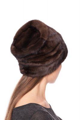 Audinės kailio kepurė Cilindras, natūrali tamsiai ruda