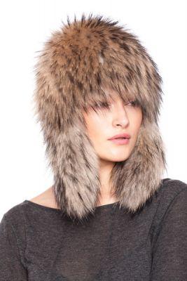 Megzta usūrinio šuns kailio ausinė kepurė, natūrali