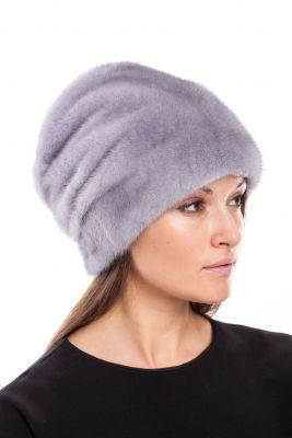 Audinės kailio kepurė Cilindras, natūrali safir