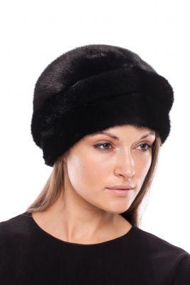 Audinės kailio kepurė Turbanas, juoda