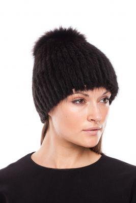 Megzta audinės kailio kepurė Sport, juoda/juoda