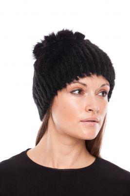 Megzta audinės kailio kepurė Mimoza, juoda/juoda