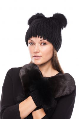 Megzta audinės kailio kepurė Katinėlis juoda/juoda