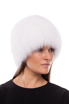 Megzta lapės kailio kepurė, balta