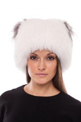 Megzta lapės kailio kepurė Katinėlis SAGA, balta