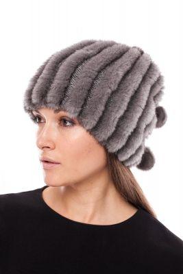 Megzta audinės kailio kepurė/šalikas, tamsiai pilka