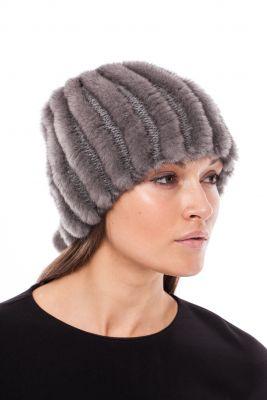 Megzta audinės kailio kepurė/šalikas, pilka