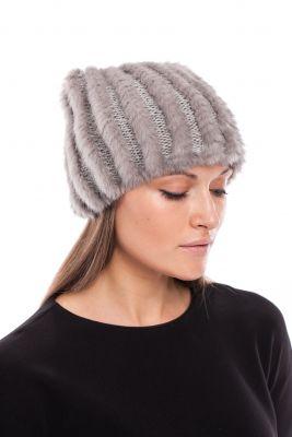 Megzta audinės kailio kepurė Katinėlis pilka