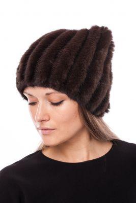 Megzta audinės kailio kepurė Katinėlis ruda