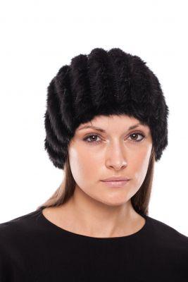Megzta audinės kailio kepurė/šalikas, juoda
