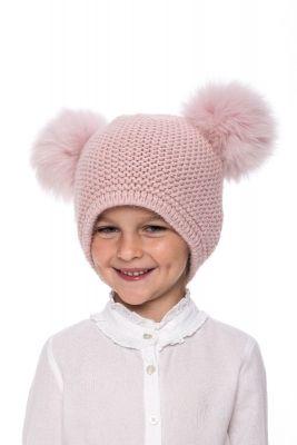 Kūdikiška megzta vilnonė kepurė su bumbulais rožinė