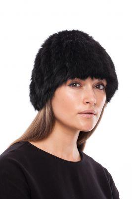 Megzta triušio kailio kepurė, juoda