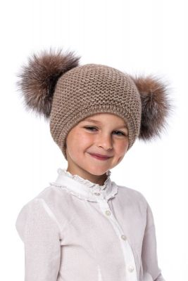 Kūdikiška megzta vilnonė kepurė su bumbulais ruda