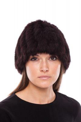 Megzta triušio kailio kepurė, bordo