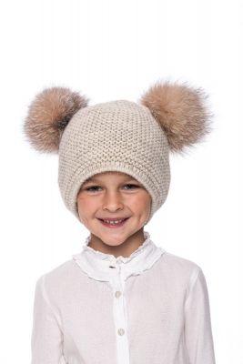 Kūdikiška megzta vilnonė kepurė su bumbulais gelsva