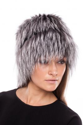 Megzta lapės kailio kepurė Cilindras, juodsidabrės