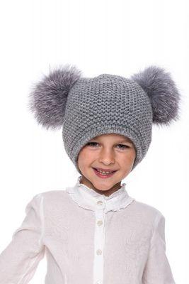 Kūdikiška megzta vilnonė kepurė su bumbulais pilka