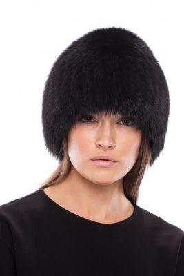 Megzta lapės kailio kepurė, juoda