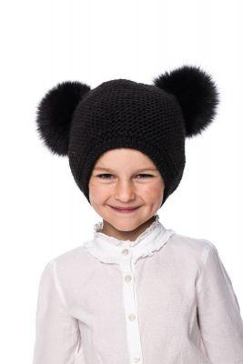 Kūdikiška megzta vilnonė kepurė su bumbulais juoda