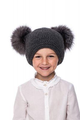 Kūdikiška megzta vilnonė kepurė su bumbulais tamsiai pilka