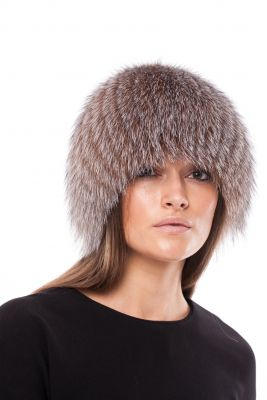 Megzta lapės kailio kepurė, gelsvas frost